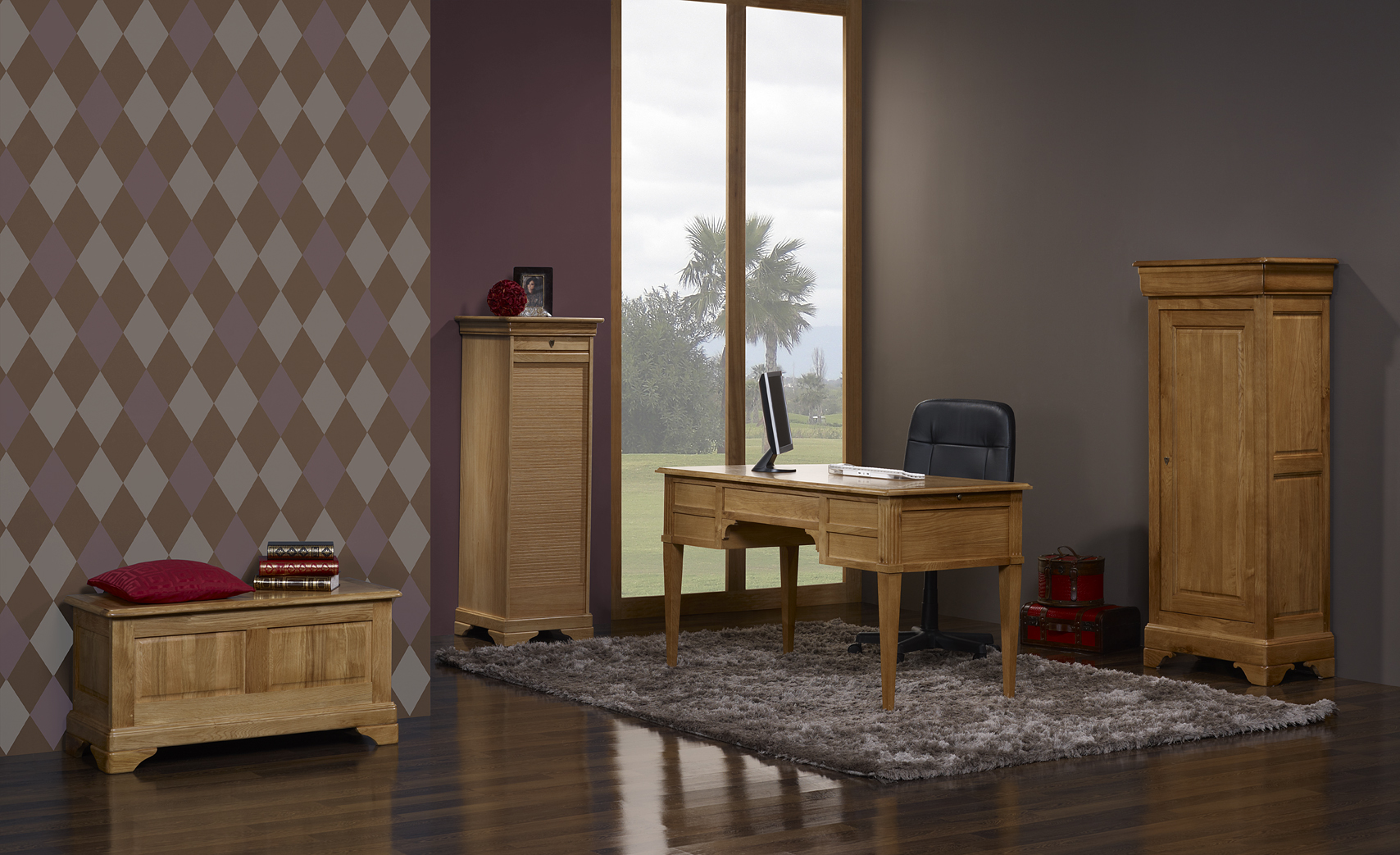 classeur rideau en ch ne de style louis philippe meuble en ch ne. Black Bedroom Furniture Sets. Home Design Ideas