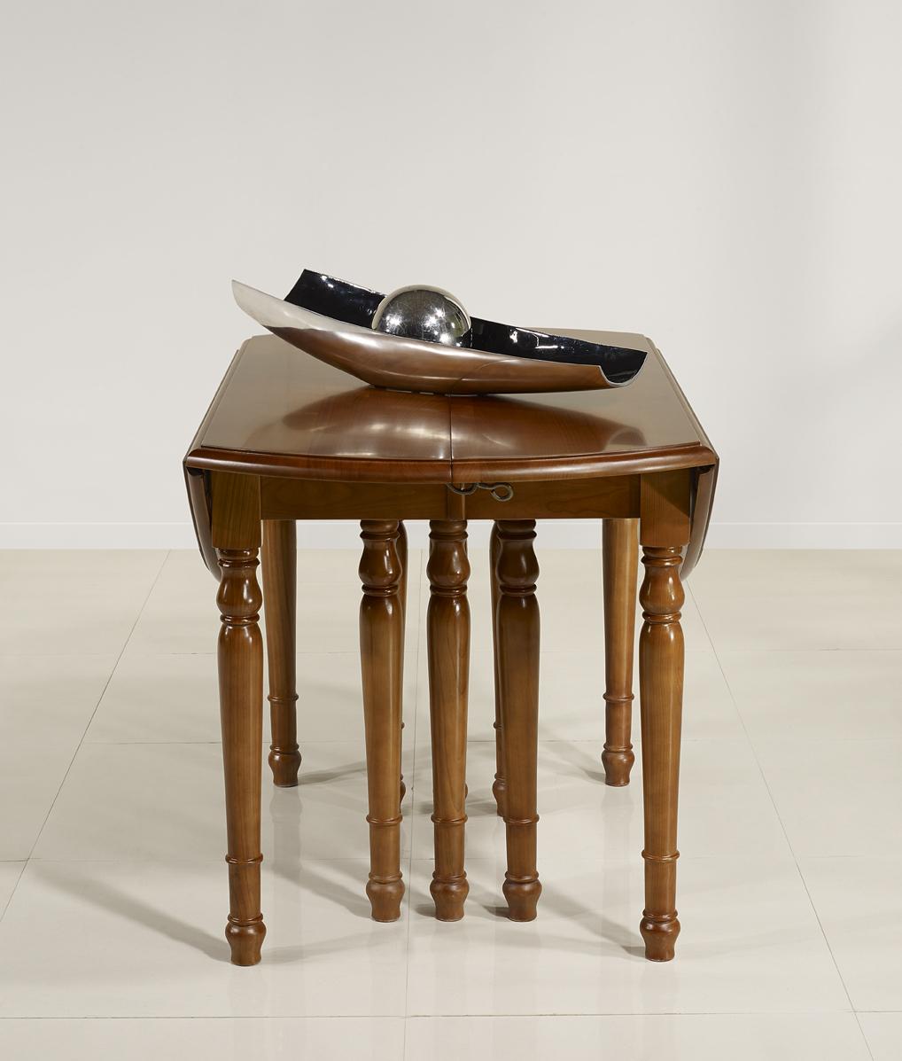 Table ronde volets diametre 120 en ch ne massif de style - Diametre table ronde pour 10 personnes ...