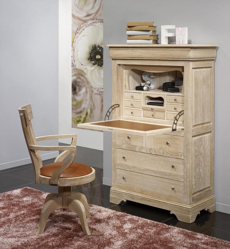 secr taire en ch ne massif de style louis philippe. Black Bedroom Furniture Sets. Home Design Ideas