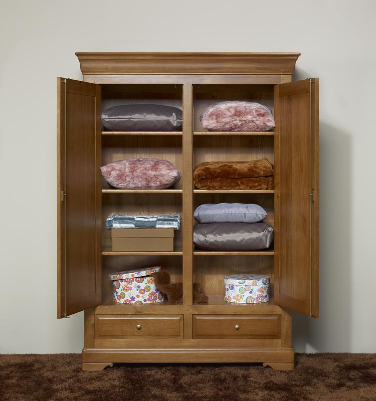 Petite armoire 2 portes eric en ch ne massif de style louis philippe meuble - Armoire petite hauteur ...