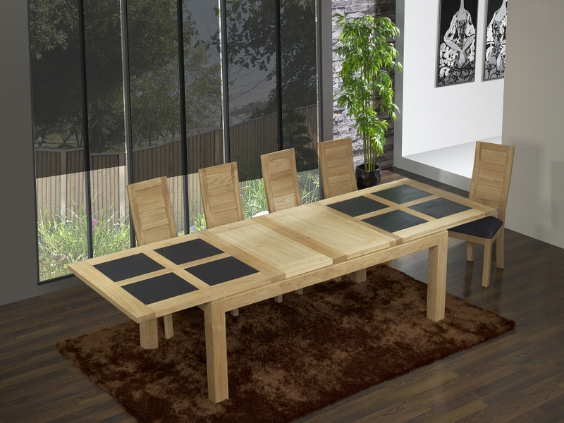 table de repas rectangulaire 200x100 mathis en ch ne ligne contemporaine meuble en ch ne. Black Bedroom Furniture Sets. Home Design Ideas