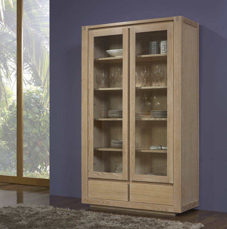 biblioth que 2 portes 2 tiroirs mathis en ch ne ligne. Black Bedroom Furniture Sets. Home Design Ideas