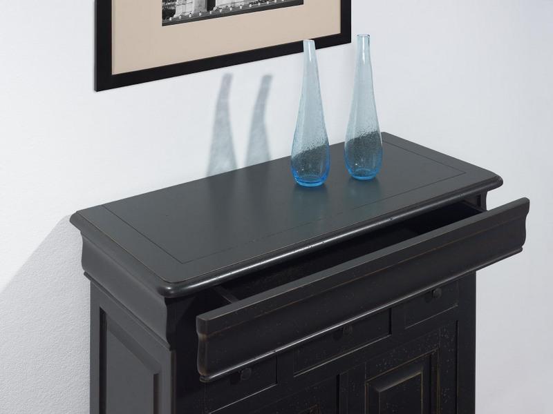 petit buffet 2 portes 4 tiroirs timothy en ch ne massif de style louis philippe patine noir use. Black Bedroom Furniture Sets. Home Design Ideas
