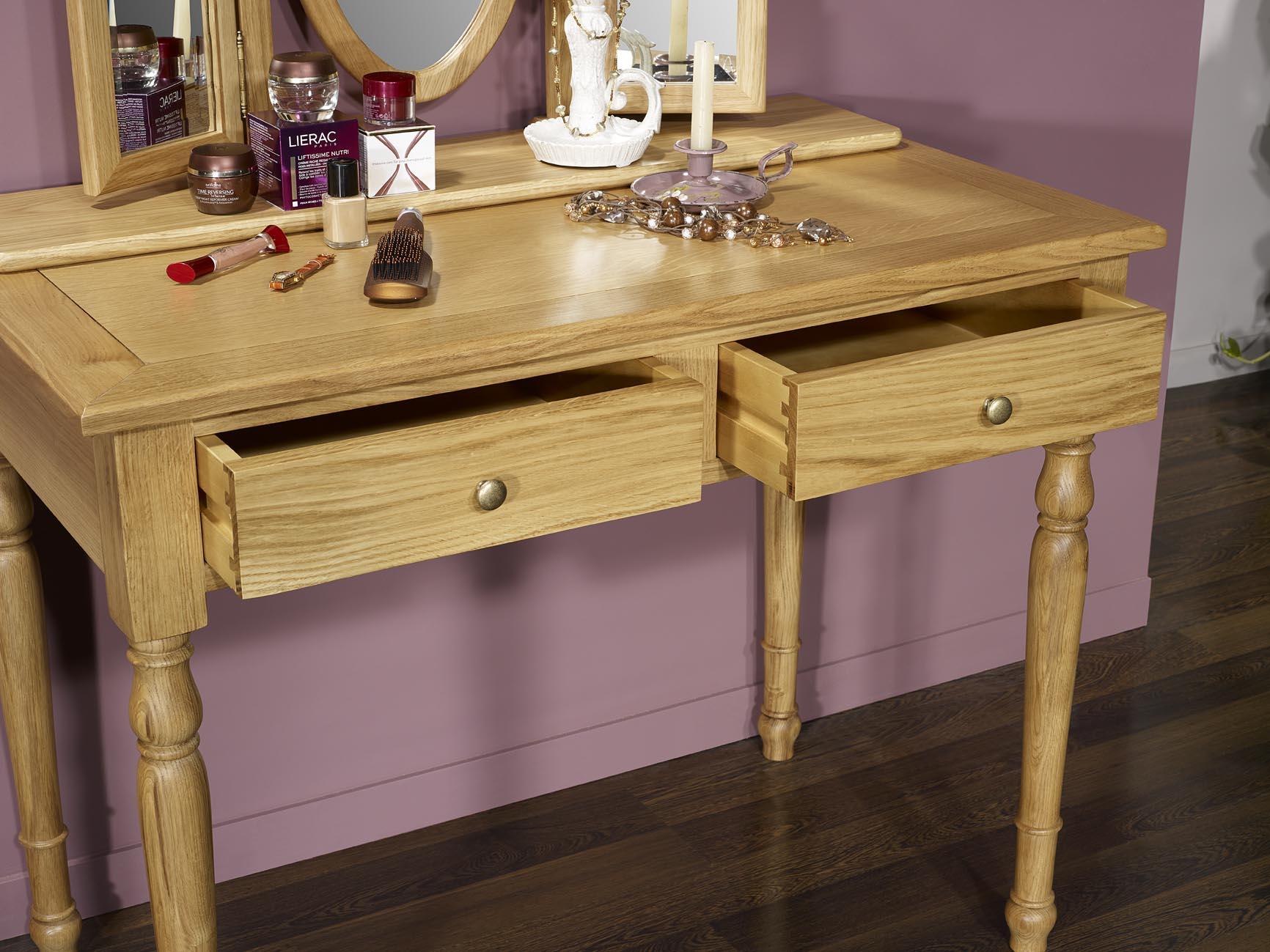 Table de toilette ou Coiffeuse Valérie en chêne de style Louis ...