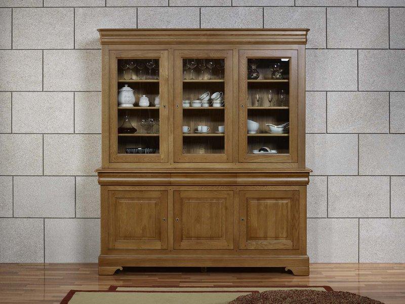 biblioth que 2 corps 3 portes en ch ne massif de style louis philippe meuble en ch ne. Black Bedroom Furniture Sets. Home Design Ideas