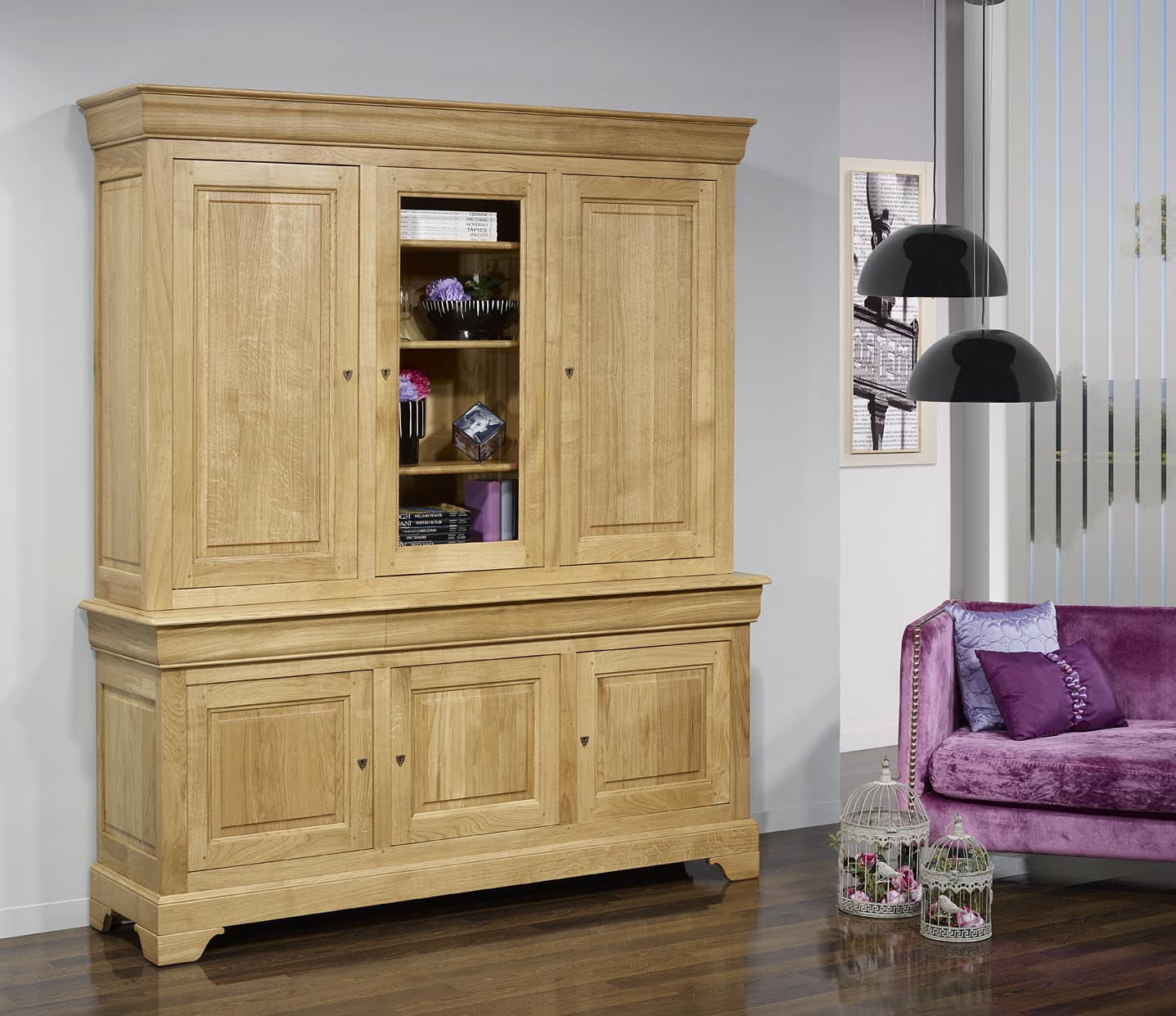 biblioth que 2 corps 3 portes thibaud en ch ne massif de style louis philippe meuble en ch ne. Black Bedroom Furniture Sets. Home Design Ideas