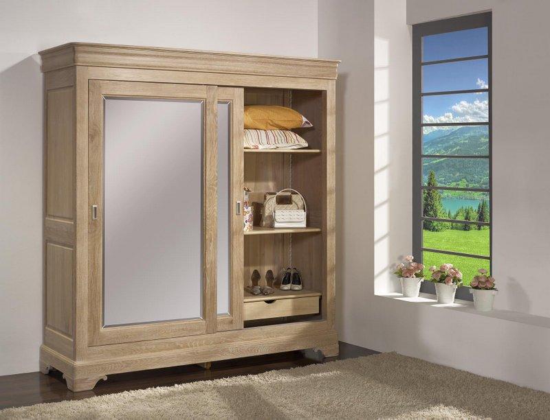 armoire 2 portes en ch ne massif de style louis philippe. Black Bedroom Furniture Sets. Home Design Ideas
