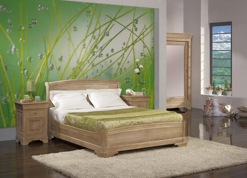 lit 140 190 en ch ne massif de style louis philippe. Black Bedroom Furniture Sets. Home Design Ideas
