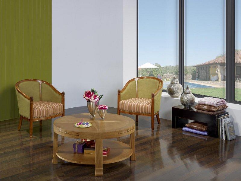table basse ronde en ch ne de style contemporain meuble en ch ne. Black Bedroom Furniture Sets. Home Design Ideas