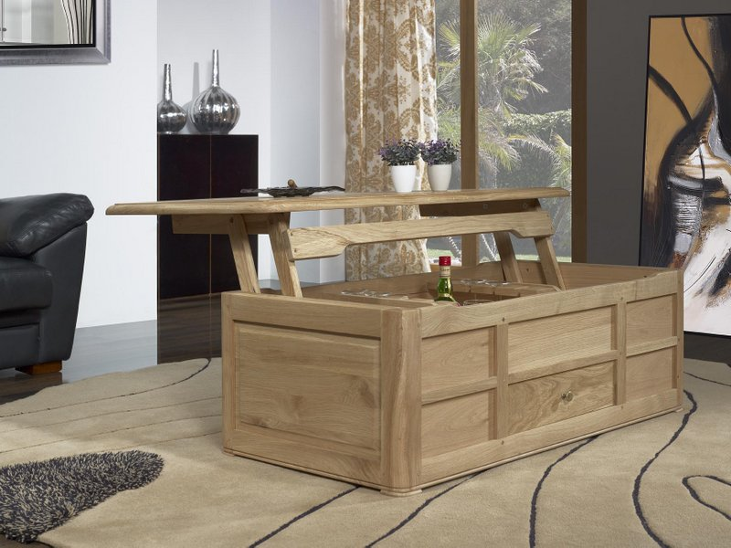 table bar en ch ne de style louis philippe finition ch ne bross naturel meuble en ch ne. Black Bedroom Furniture Sets. Home Design Ideas