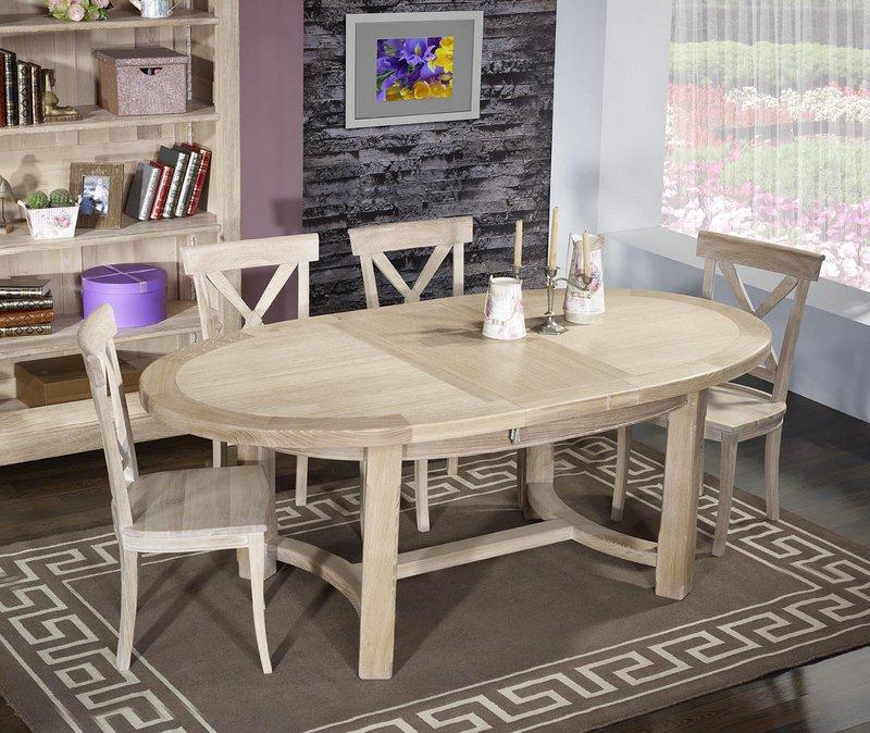table de ferme ovale tom en ch ne massif de style campagnard 170 110 finition bross blanchi. Black Bedroom Furniture Sets. Home Design Ideas