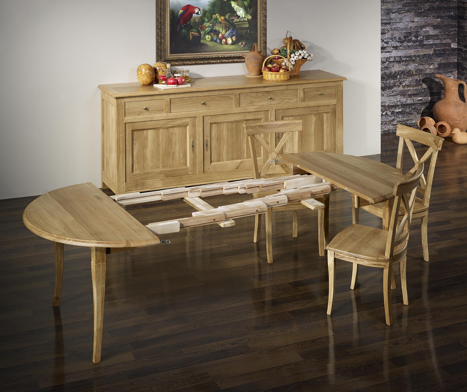 Table ronde volets diam tre 110 en ch ne massif de style for Table ronde chene massif avec allonges