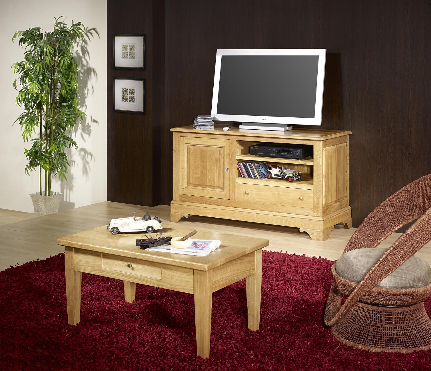 Table basse en ch ne massif campagnard meuble en ch ne for Table basse en chene massif