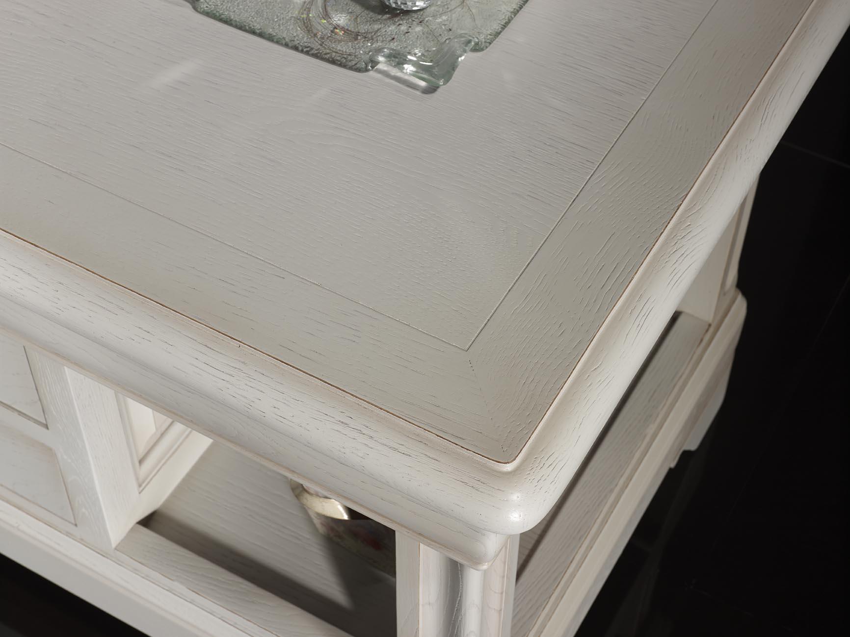 table basse en ch ne de style louis philippe finition ch ne bross gris perle meuble en ch ne. Black Bedroom Furniture Sets. Home Design Ideas