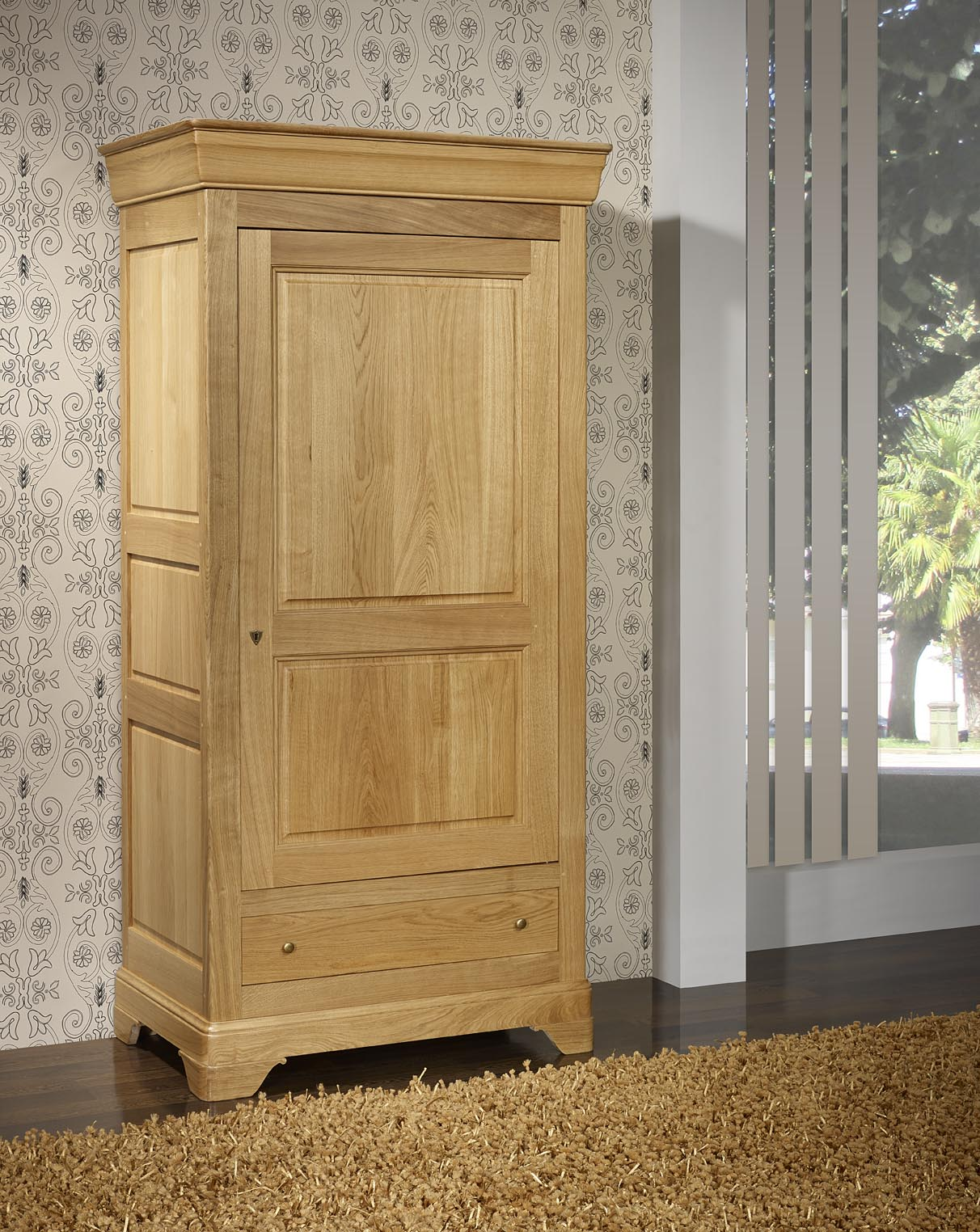 Bonneti re 1 porte 1 tiroir en ch ne massif de style louis for Meuble en chene