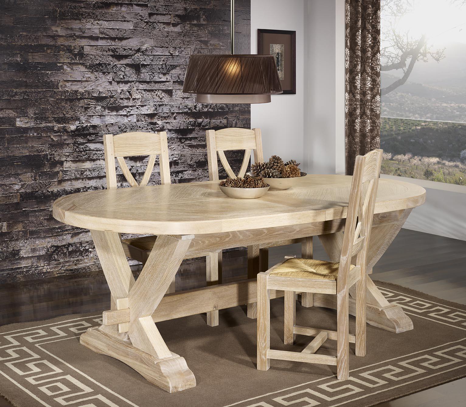 Table Monast Re 220x120 En Ch Ne Massif 2 Allonges