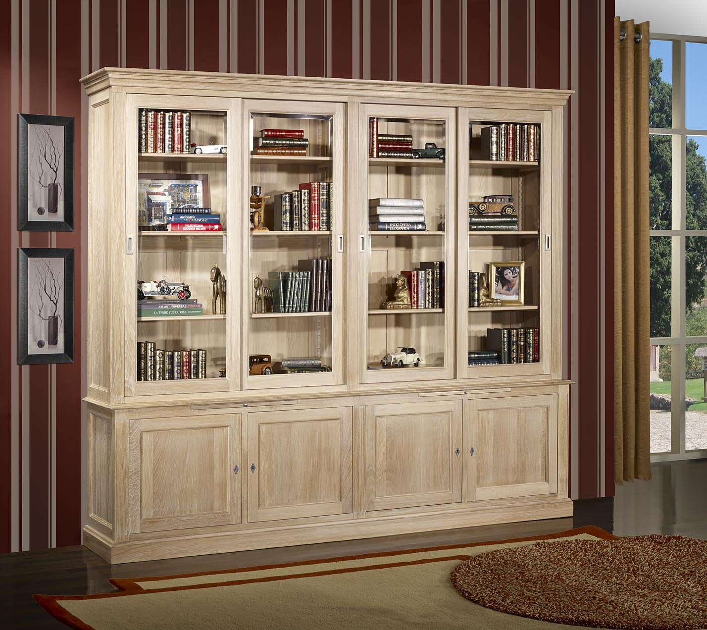 biblioth que 2 corps 4 portes coulissantes en ch ne massif de style directoire finition ch ne. Black Bedroom Furniture Sets. Home Design Ideas