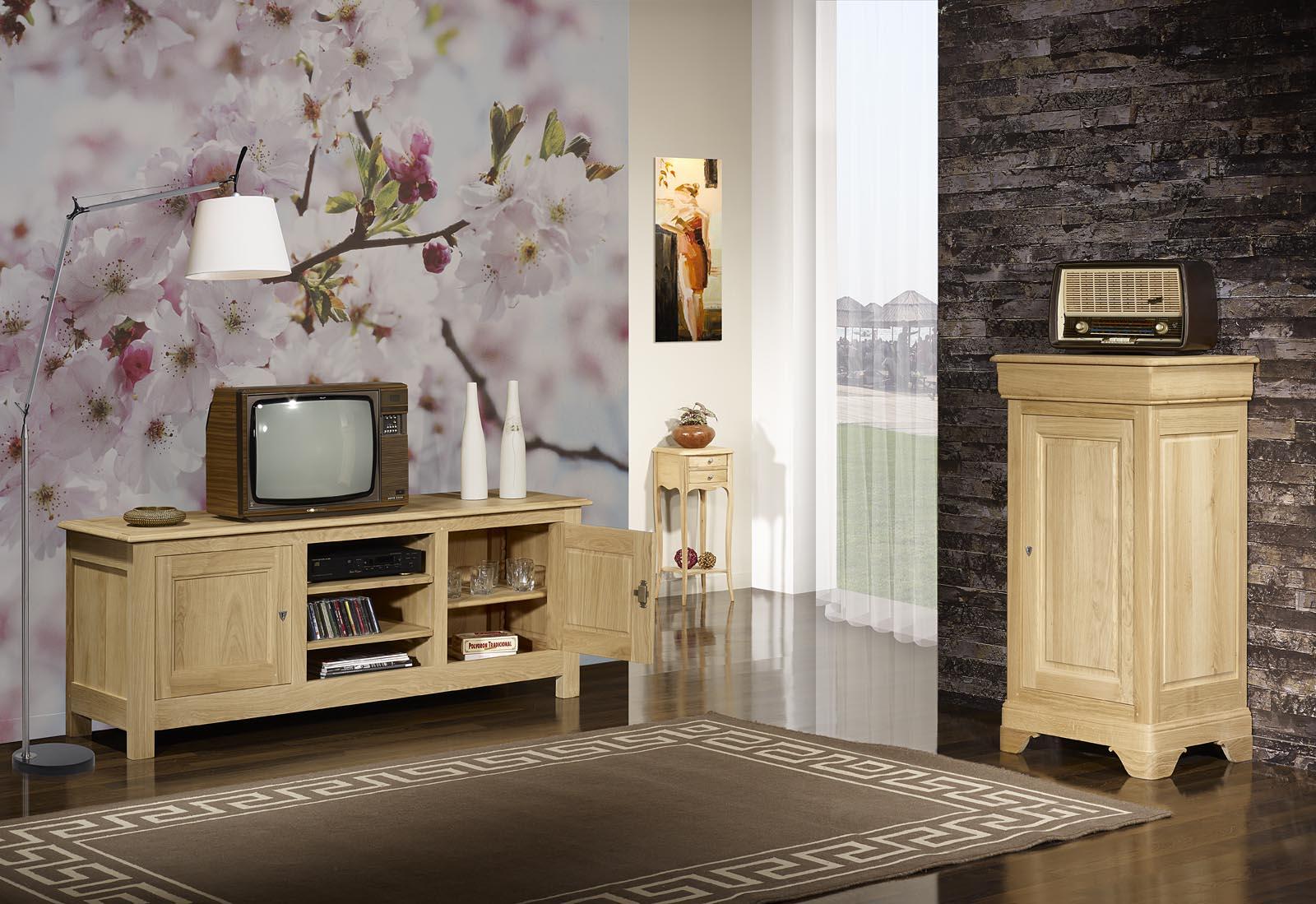 meuble tv 16 9eme en ch ne massif de style campagnard finition ch ne bross naturel meuble en. Black Bedroom Furniture Sets. Home Design Ideas