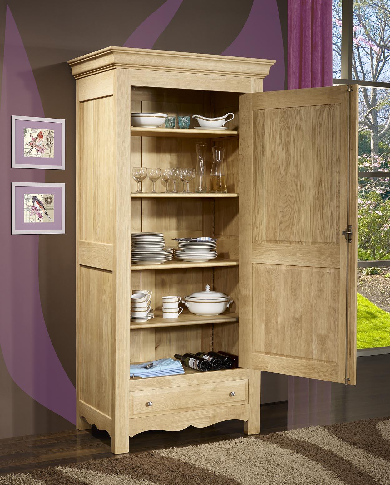 bonneti re 1 porte 1 tiroir en ch ne massif de style campagnard meuble en ch ne. Black Bedroom Furniture Sets. Home Design Ideas