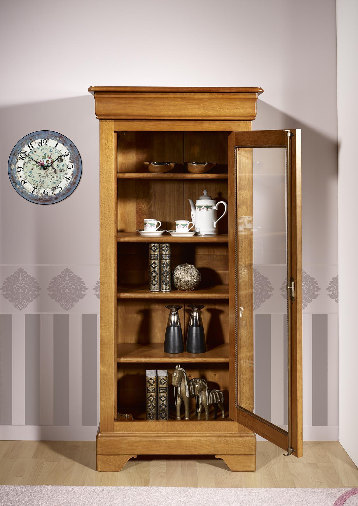 Vitrine 1 porte en ch ne massif de style louis philippe for Meuble vitrine une porte