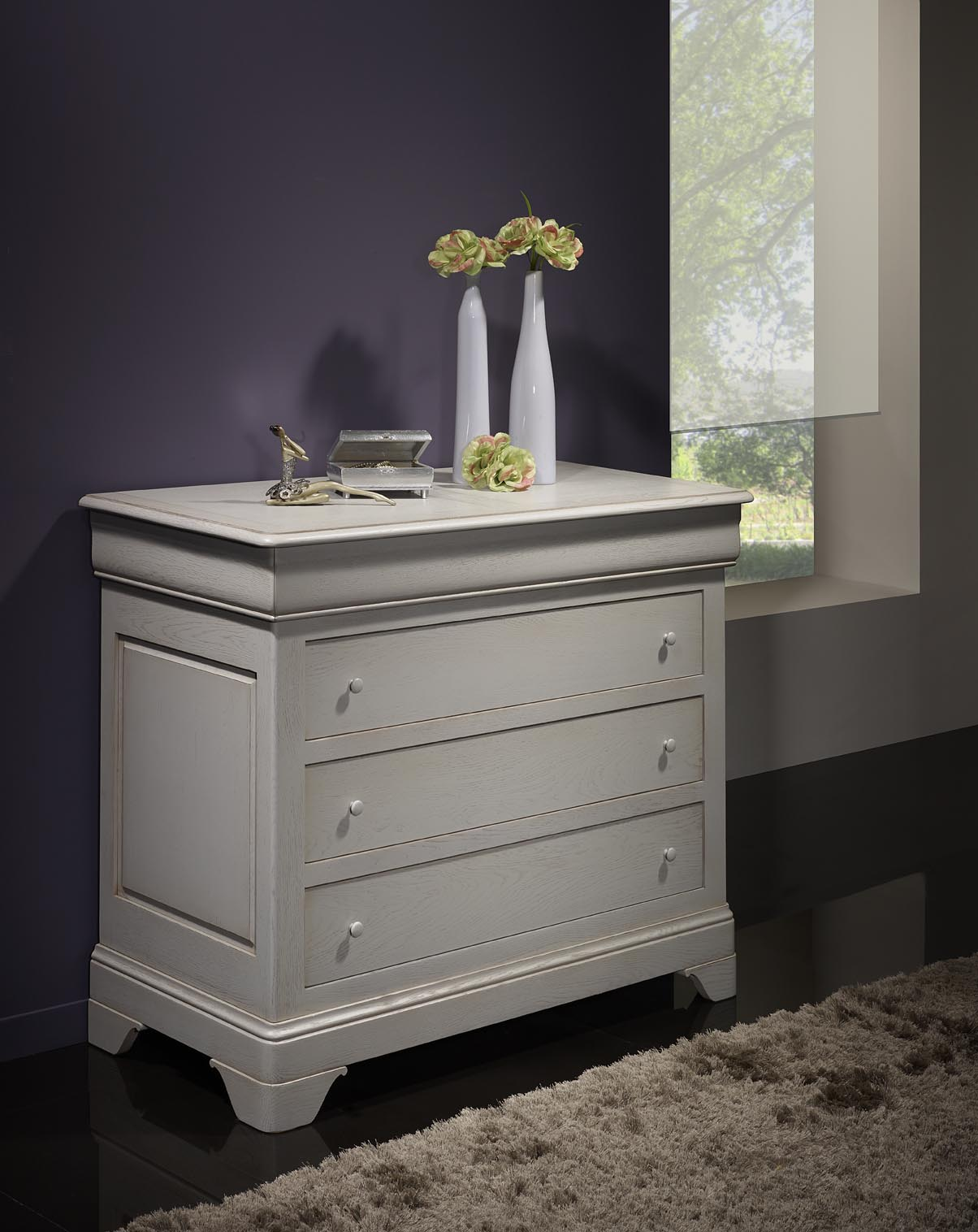 commode 4 tiroirs en ch ne massif de style louis philippe. Black Bedroom Furniture Sets. Home Design Ideas