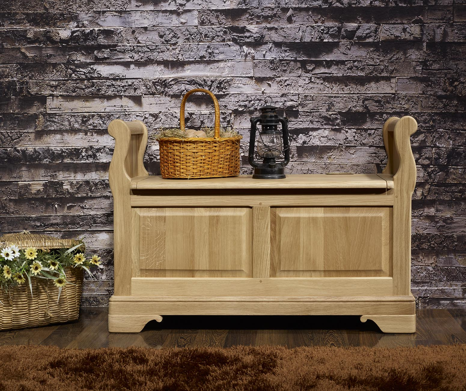 banc coffre en ch ne massif de style louis philippe finition ch ne bross naturel meuble en ch ne. Black Bedroom Furniture Sets. Home Design Ideas