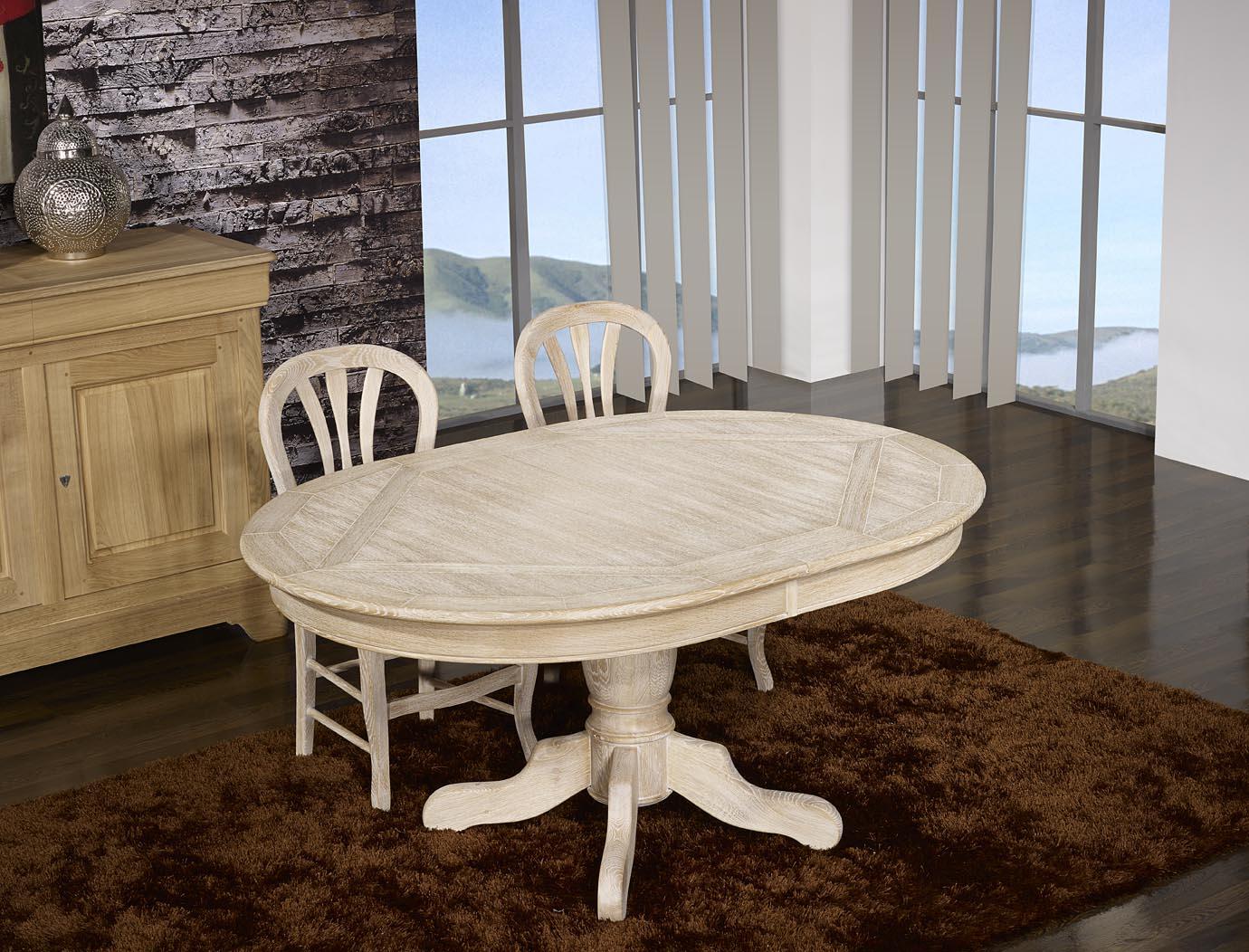 Table ovale 160x120 pied central en ch ne de style louis for Table ronde bois massif pied central