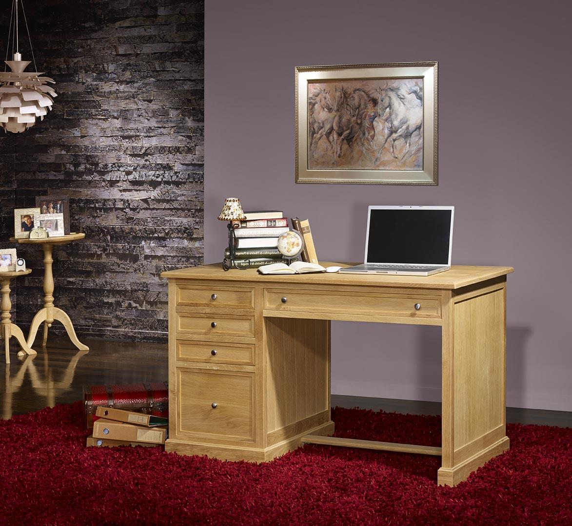 bureau 5 tiroirs en ch ne de style louis philippe finition ch ne bross naturel meuble en ch ne. Black Bedroom Furniture Sets. Home Design Ideas