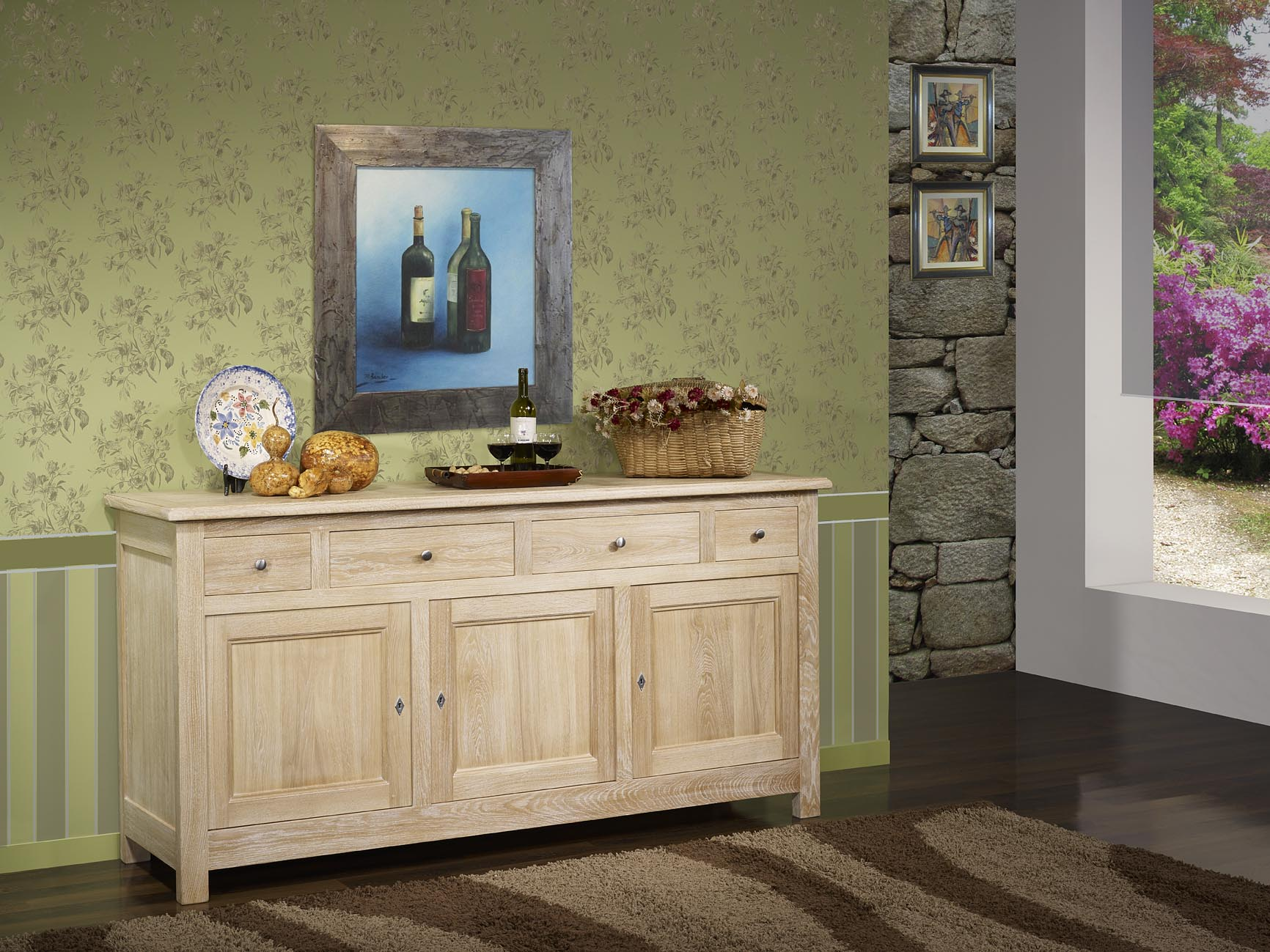 buffet en ch ne massif de style campagnard 3 portes 4. Black Bedroom Furniture Sets. Home Design Ideas