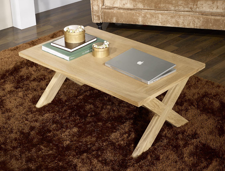 Table basse rectangulaire en ch ne de style campagnard for Table en chene rectangulaire