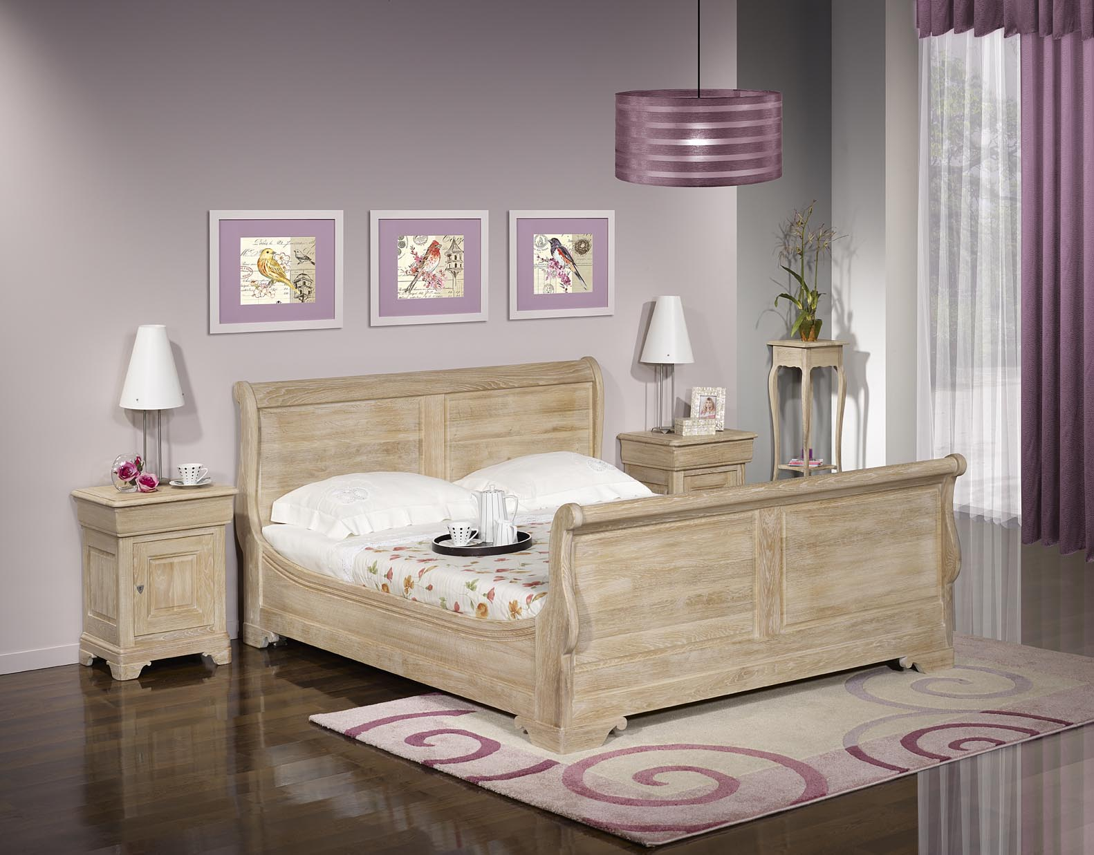 lit bateau en ch ne massif 140 190 de style louis philippe. Black Bedroom Furniture Sets. Home Design Ideas
