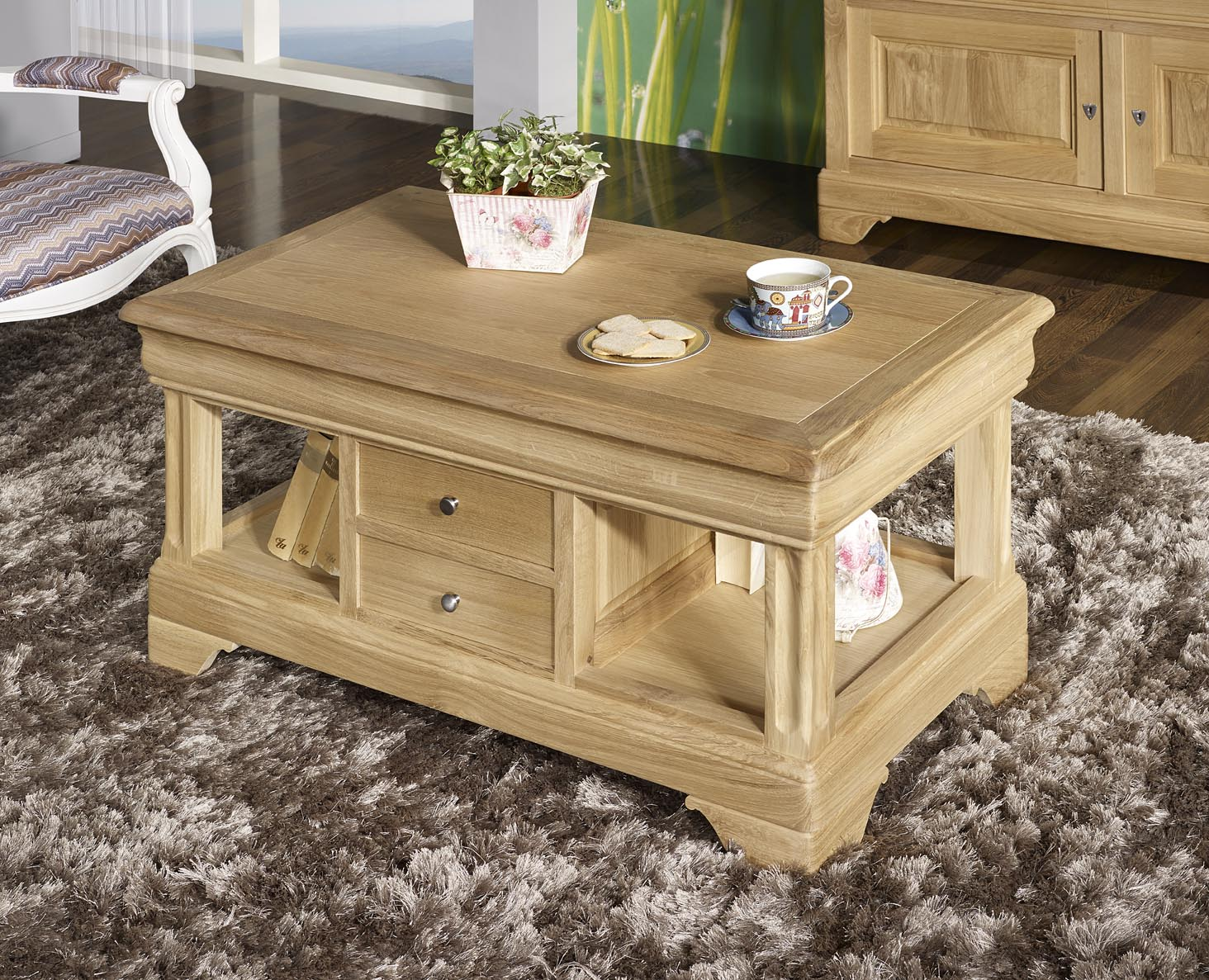 Table Basse en Chªne de style Louis Philippe Finition Chªne Brossé