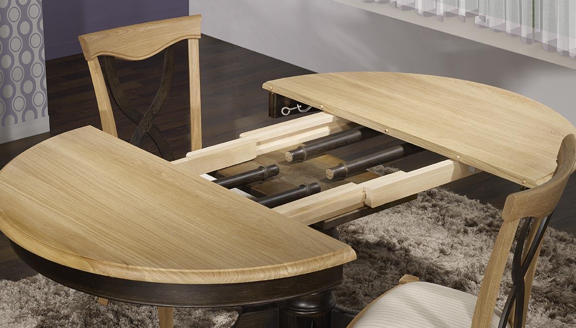 Table ronde pied central en ch ne massif de style louis - Pied de table 100 cm ...