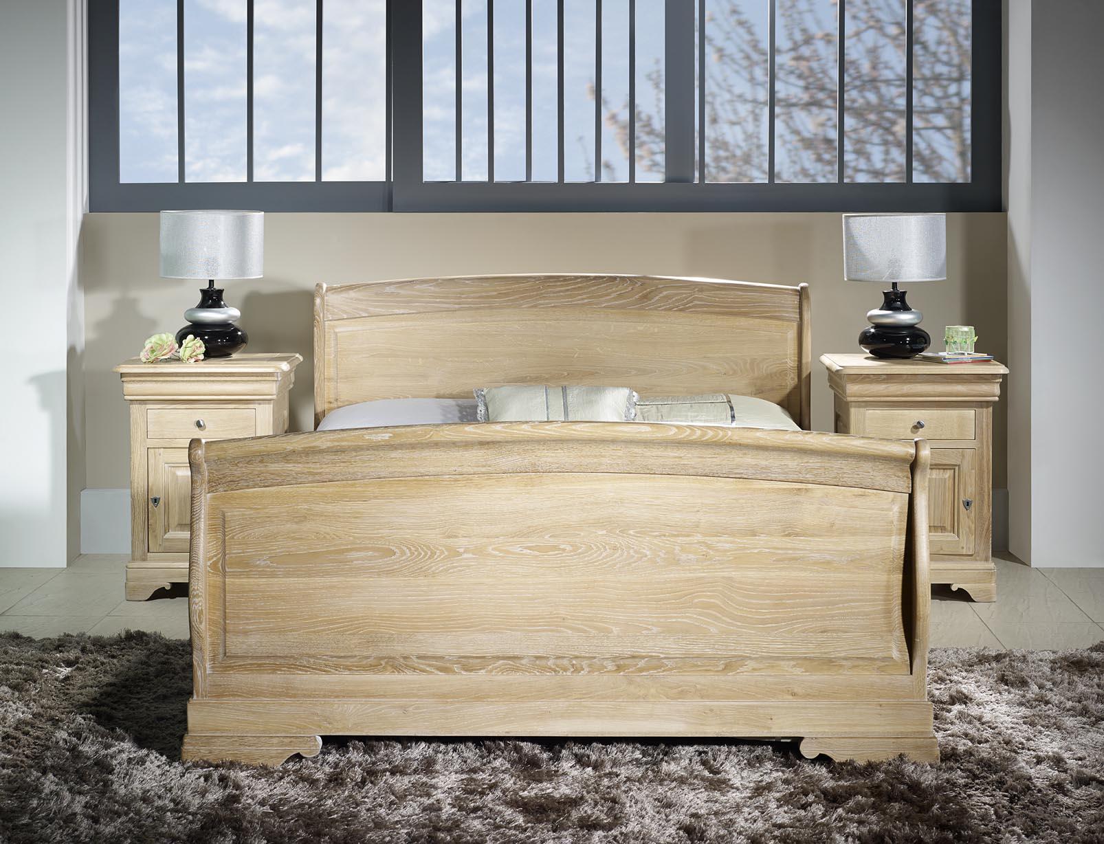 Lit 140x190 en ch ne massif de style louis philippe finition ch ne bross bla - Tete de lit chene blanchi ...