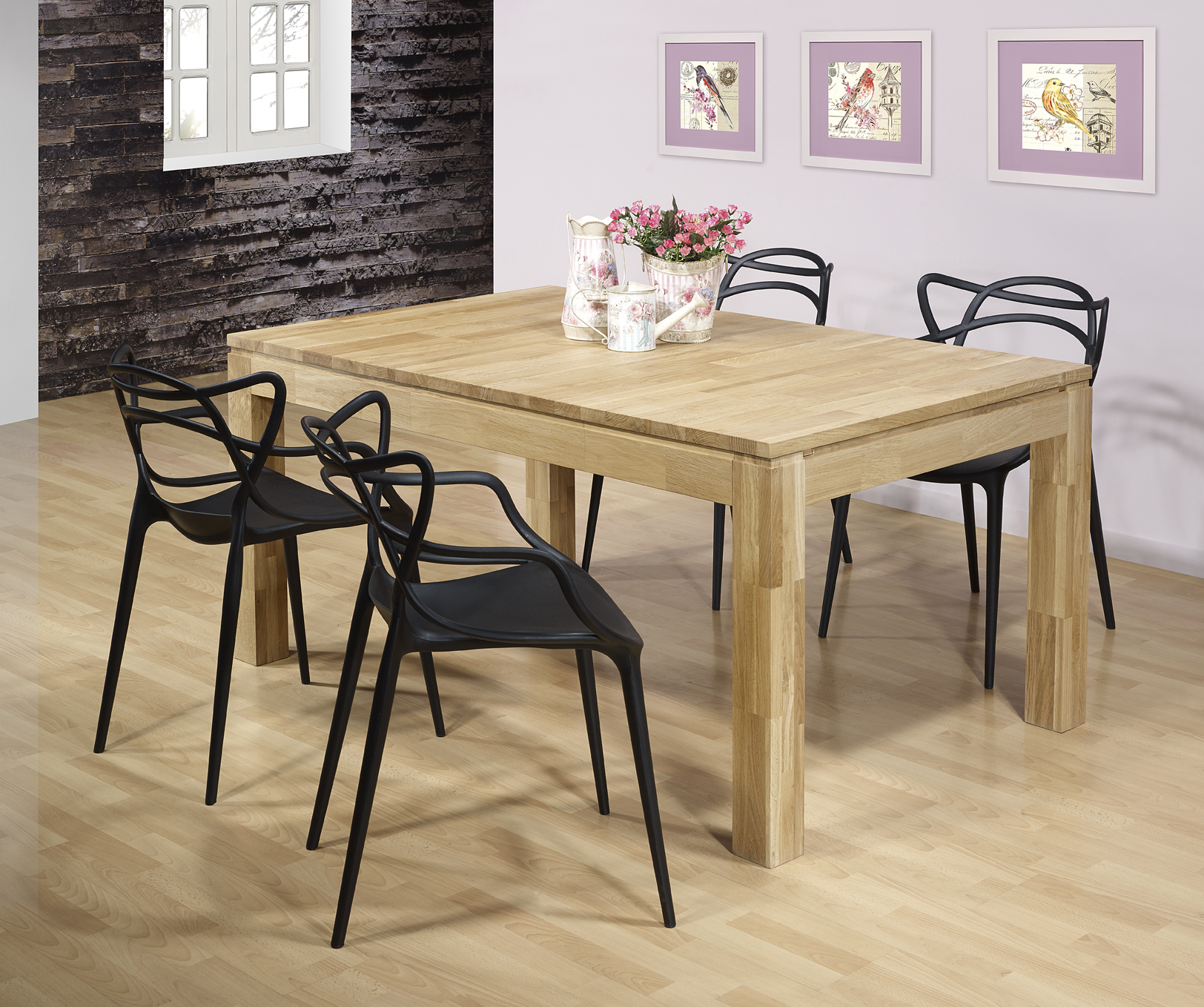 table de repas rectangulaire 160x100 ecolo en ch ne ligne contemporaine 1 disponible meuble en. Black Bedroom Furniture Sets. Home Design Ideas