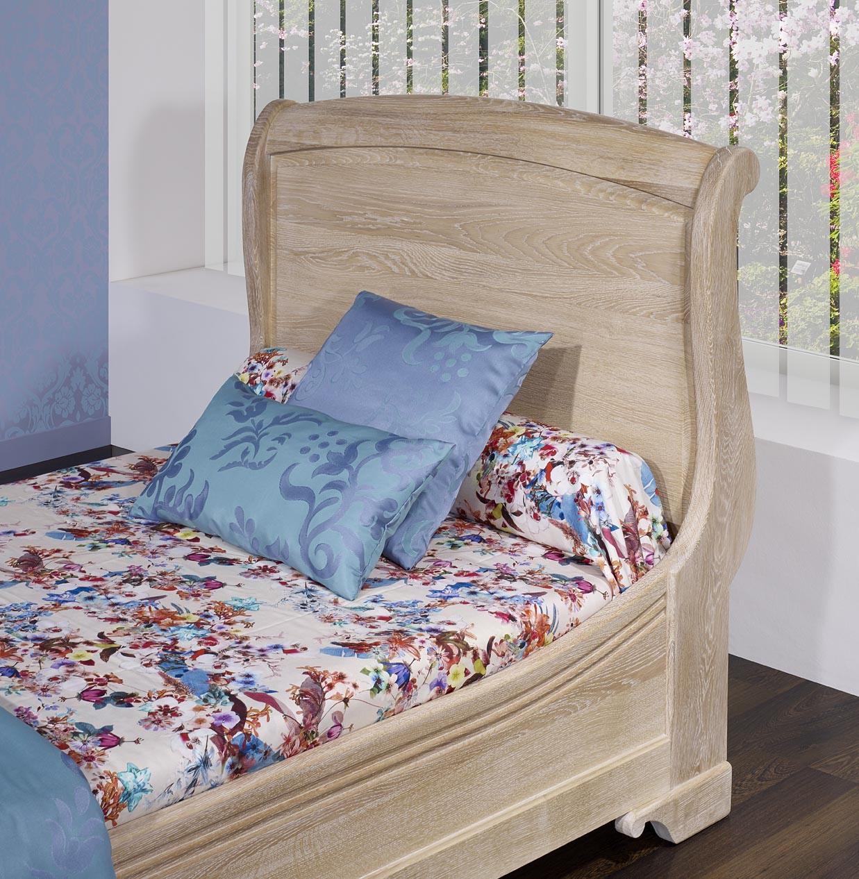 lit 90x190 de style louis philippe diego en ch ne massif finition ch ne bross blanchi meuble. Black Bedroom Furniture Sets. Home Design Ideas