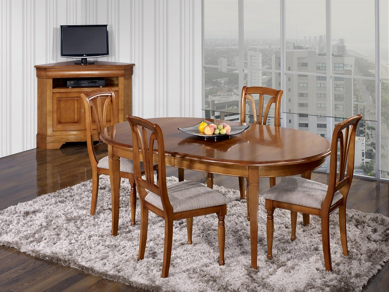 table ovale constance 200 120 en ch ne massif de style louis philippe 2 allonges incorpor es de. Black Bedroom Furniture Sets. Home Design Ideas