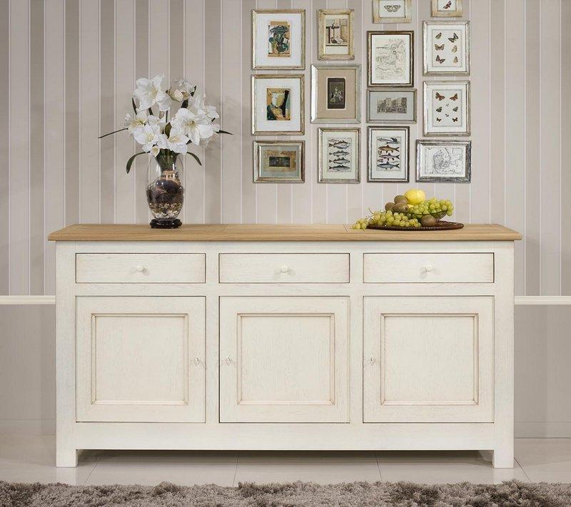 buffet 3 portes en ch ne massif de style campagnard finition ch ne bross ivoire2 plateau bross. Black Bedroom Furniture Sets. Home Design Ideas