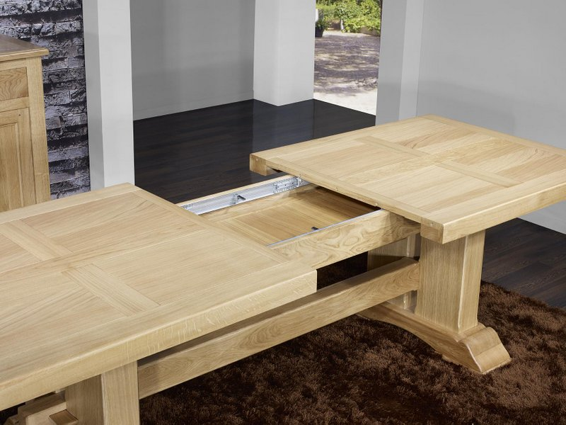 Table monast re rectangulaire 220x100 en ch ne massif 2 for Table bois rectangulaire avec allonges