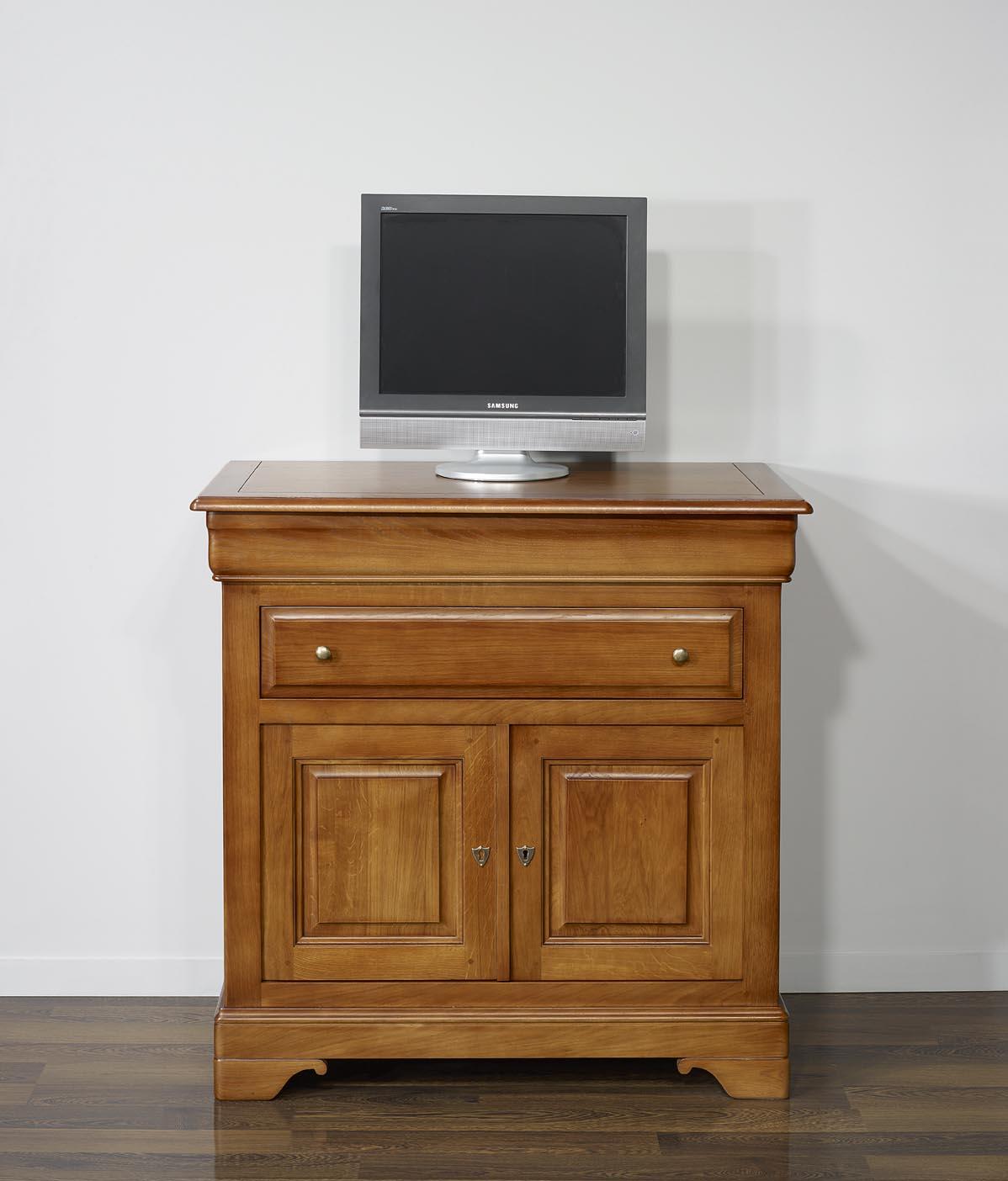 Meuble Tv En Ch Ne Massif De Style Louis Philippe Plateau Pivotant  # Meuble Tv Escamotable