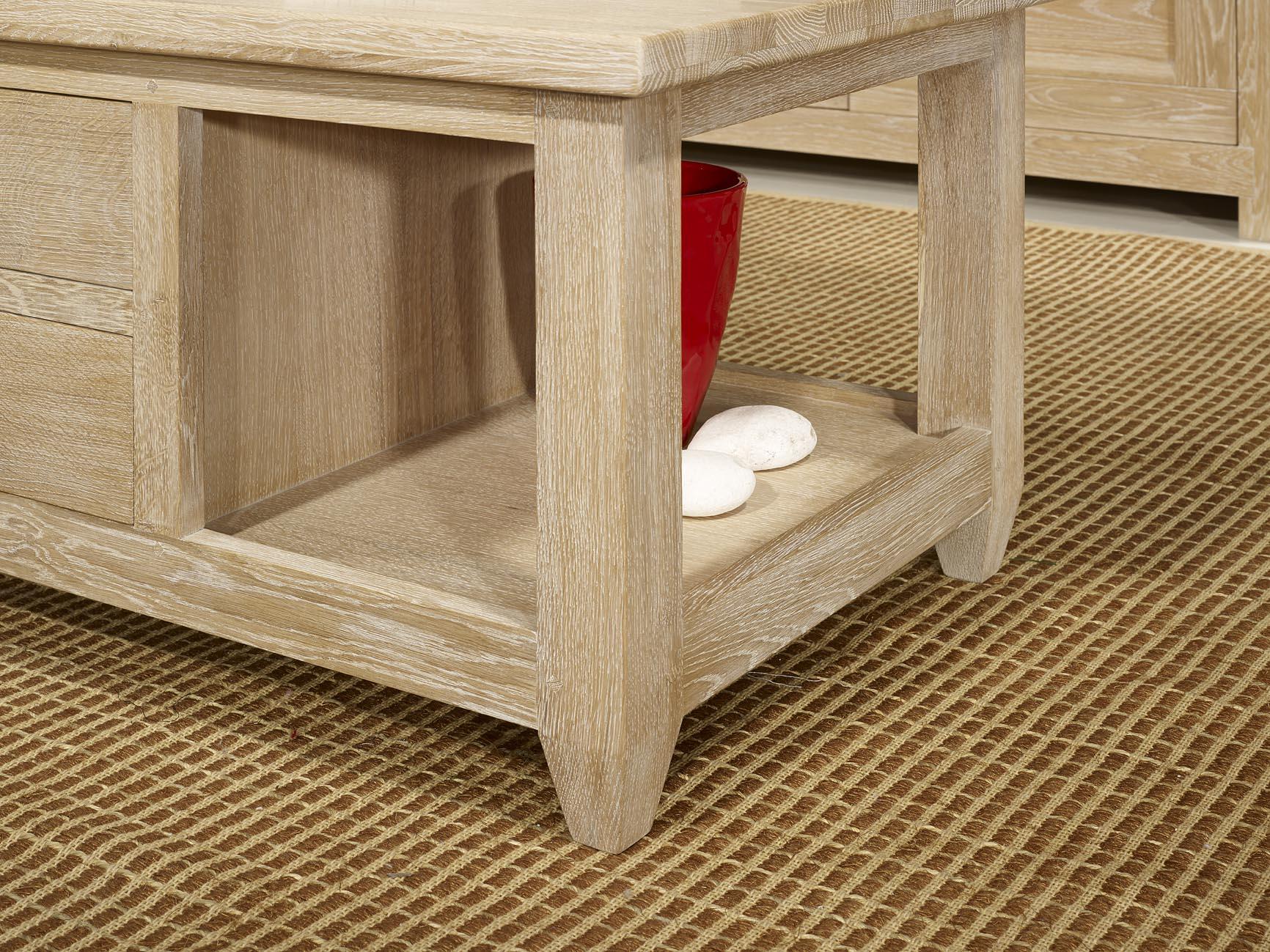 table basse en ch ne massif de style campagnard finition. Black Bedroom Furniture Sets. Home Design Ideas