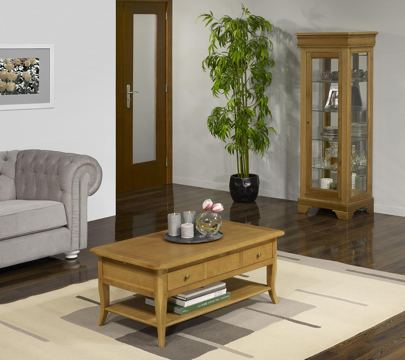 Table basse rectangulaire alexandre en ch ne de style for Table largeur 85 cm