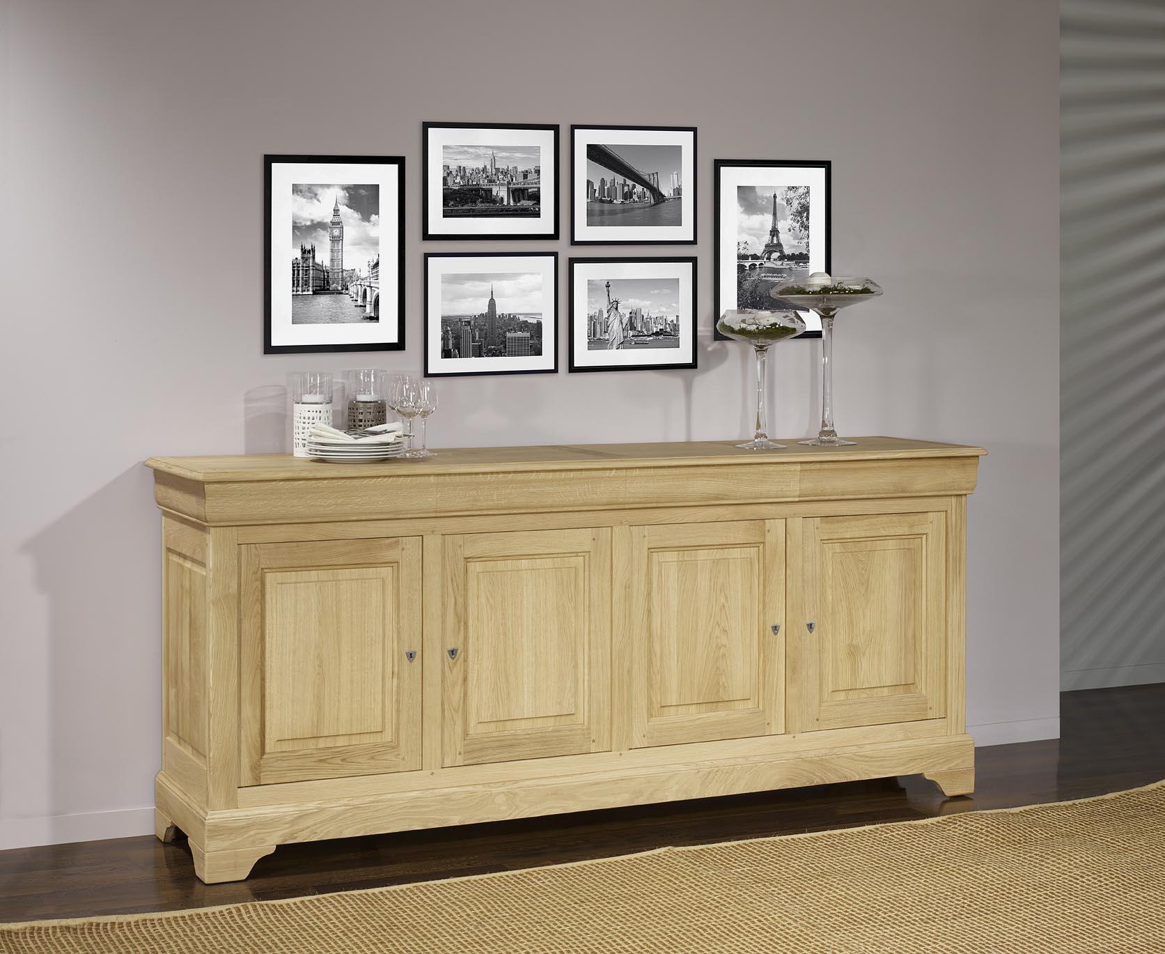 buffet 4 portes gael en ch ne massif de style louis philippe finition ch ne bross meuble en ch ne. Black Bedroom Furniture Sets. Home Design Ideas