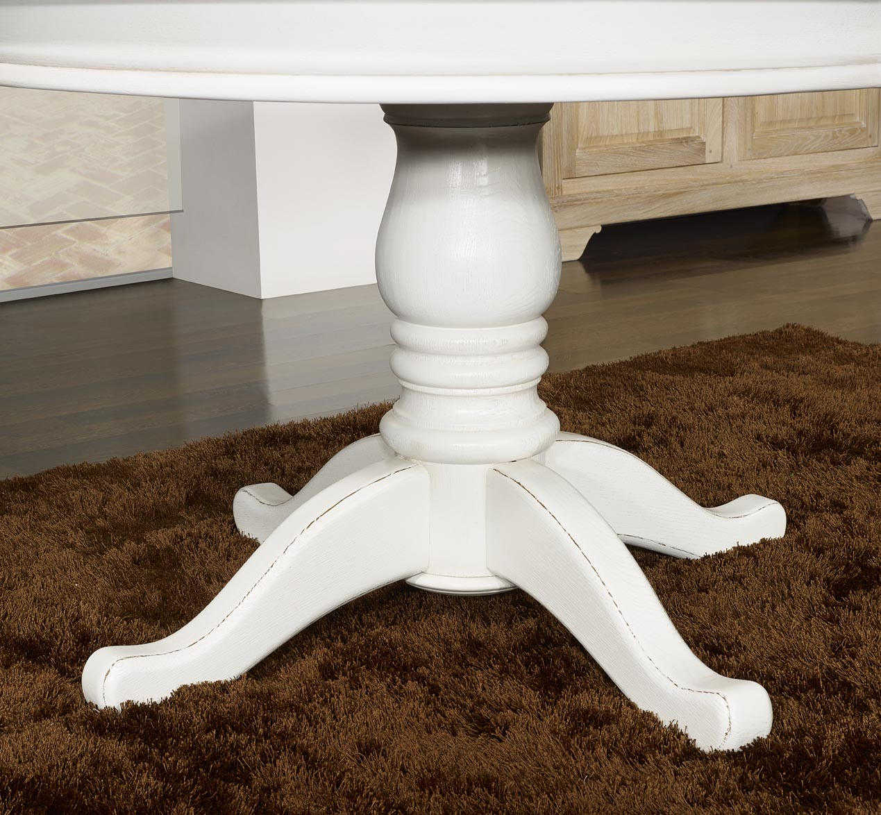 Table ronde pied central en ch ne massif de style louis philippe diametre 120 - Table ronde blanche pied central ...