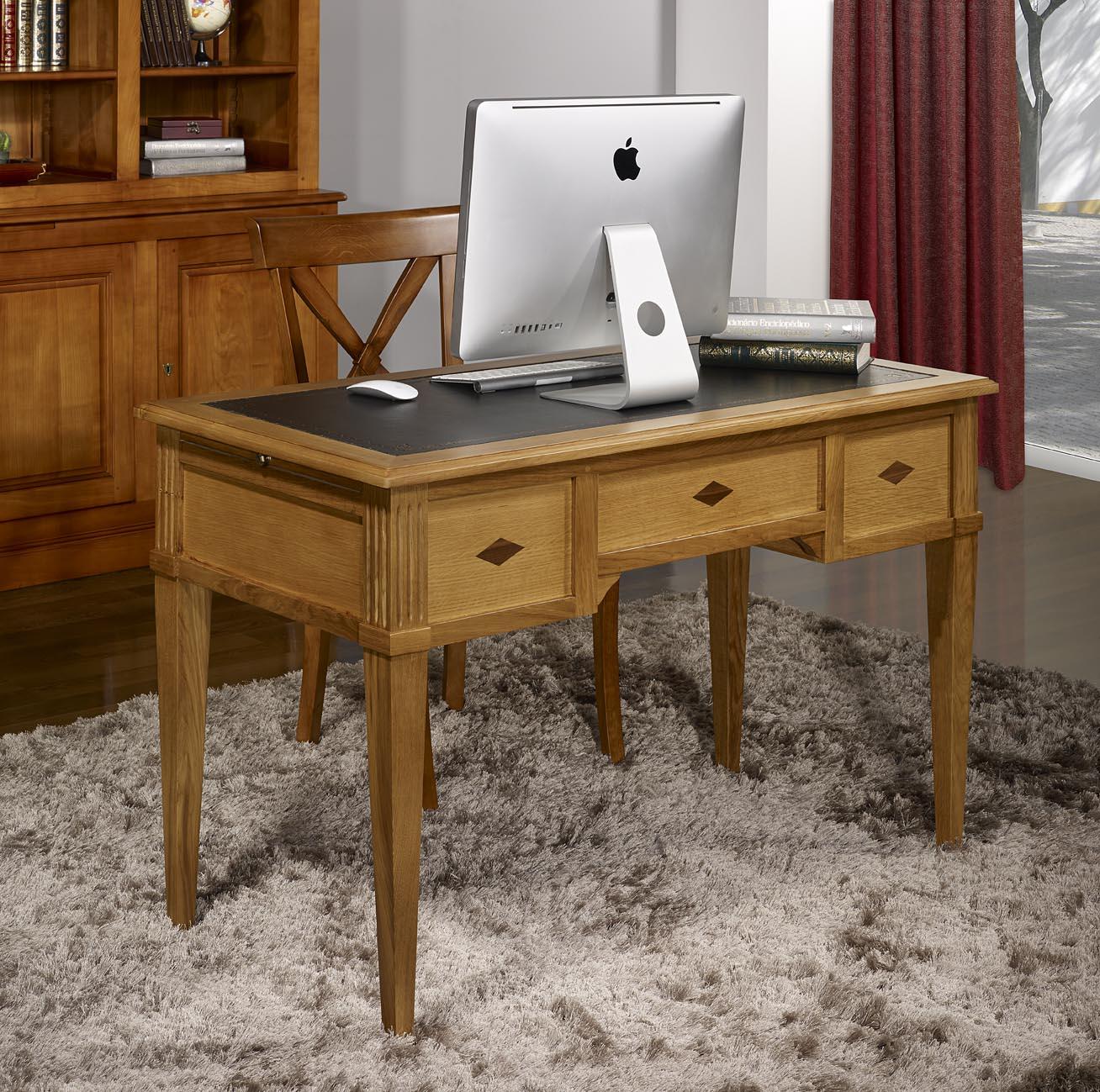 bureau 1 2 ministre 3 tiroirs en ch ne de style directoire. Black Bedroom Furniture Sets. Home Design Ideas