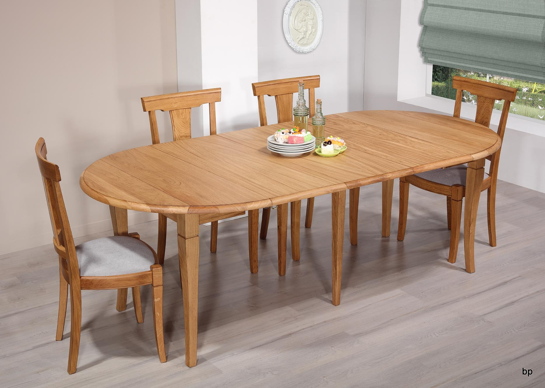 table ronde volets en ch ne massif de style louis philippe diam tre 110 3 allonges de 40 cm. Black Bedroom Furniture Sets. Home Design Ideas