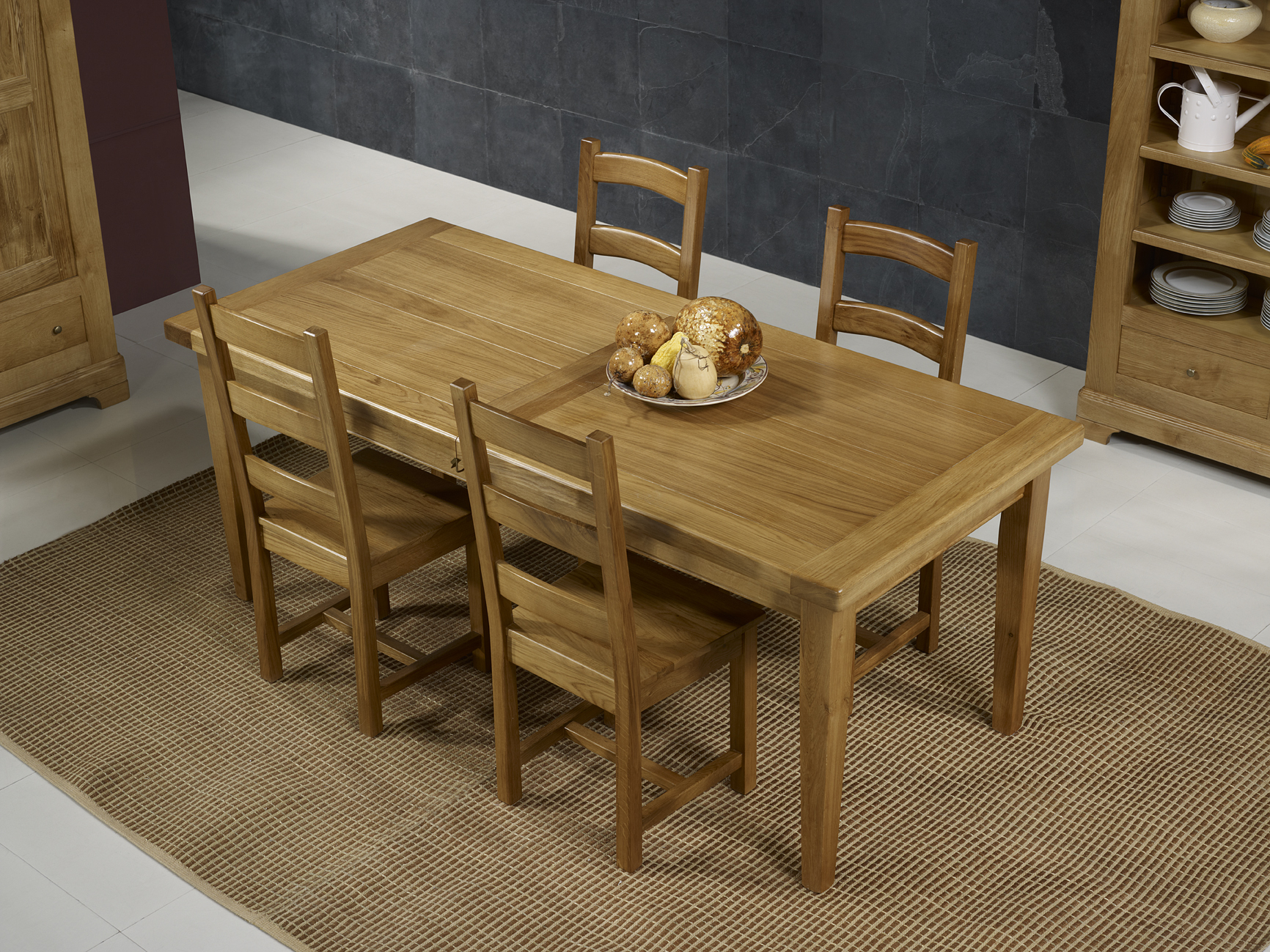 Table de ferme rectangulaire francois en ch ne massif 220 for Table en chene rectangulaire