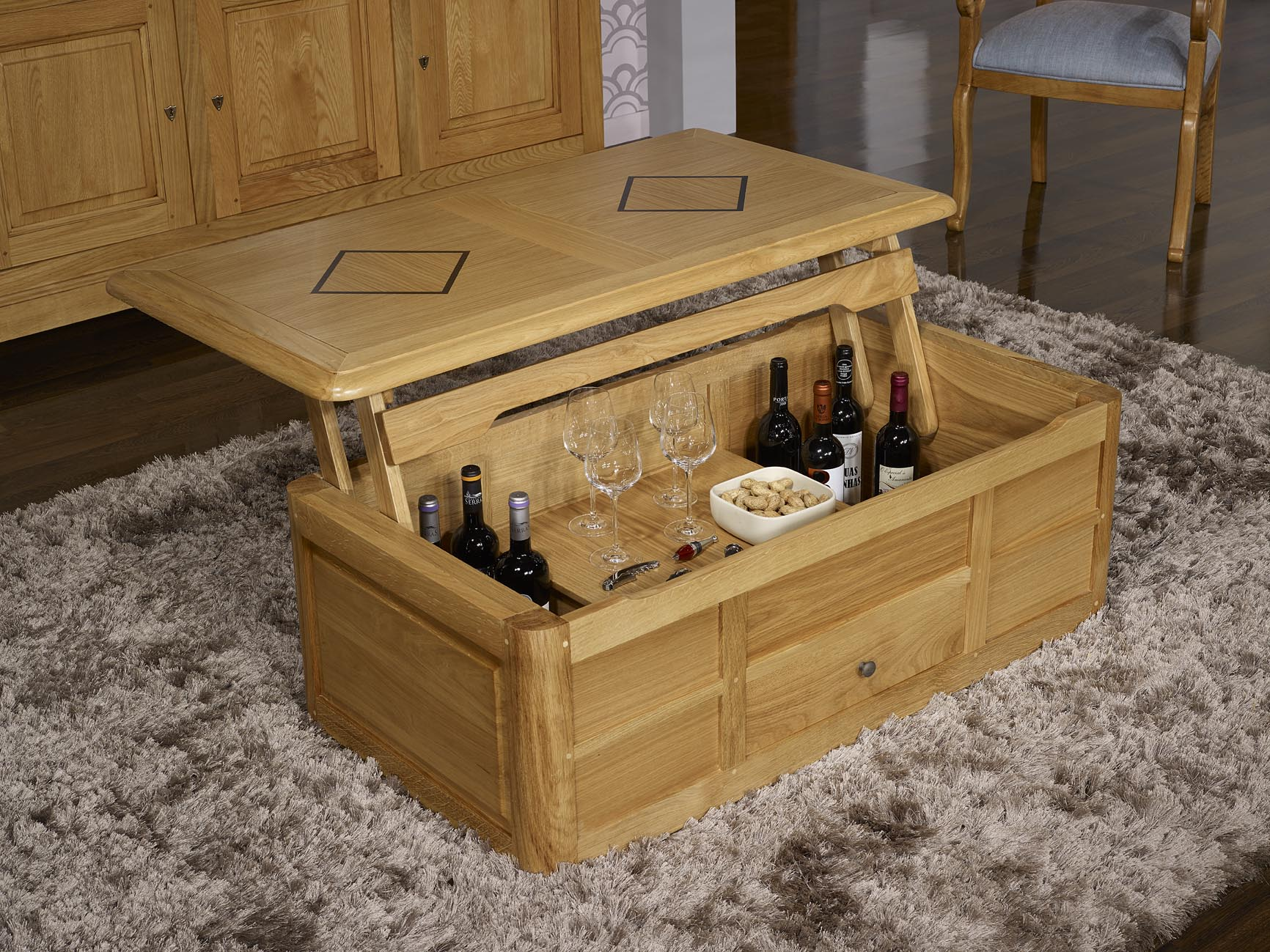 Table basse bar en ch ne de style louis philippe meuble en ch ne - Table basse en chene ...