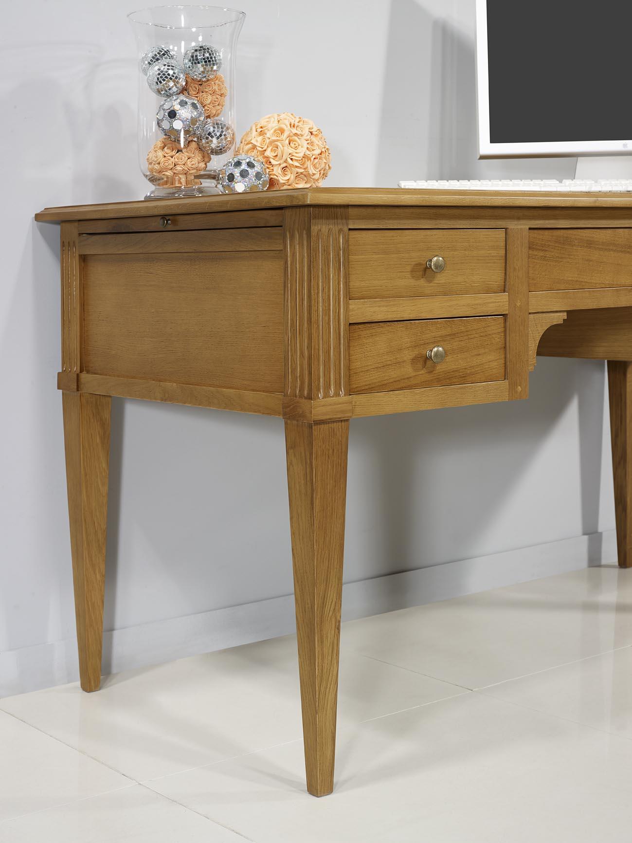 bureau ministre 5 tiroirs christian en ch ne de style directoire meuble en ch ne. Black Bedroom Furniture Sets. Home Design Ideas