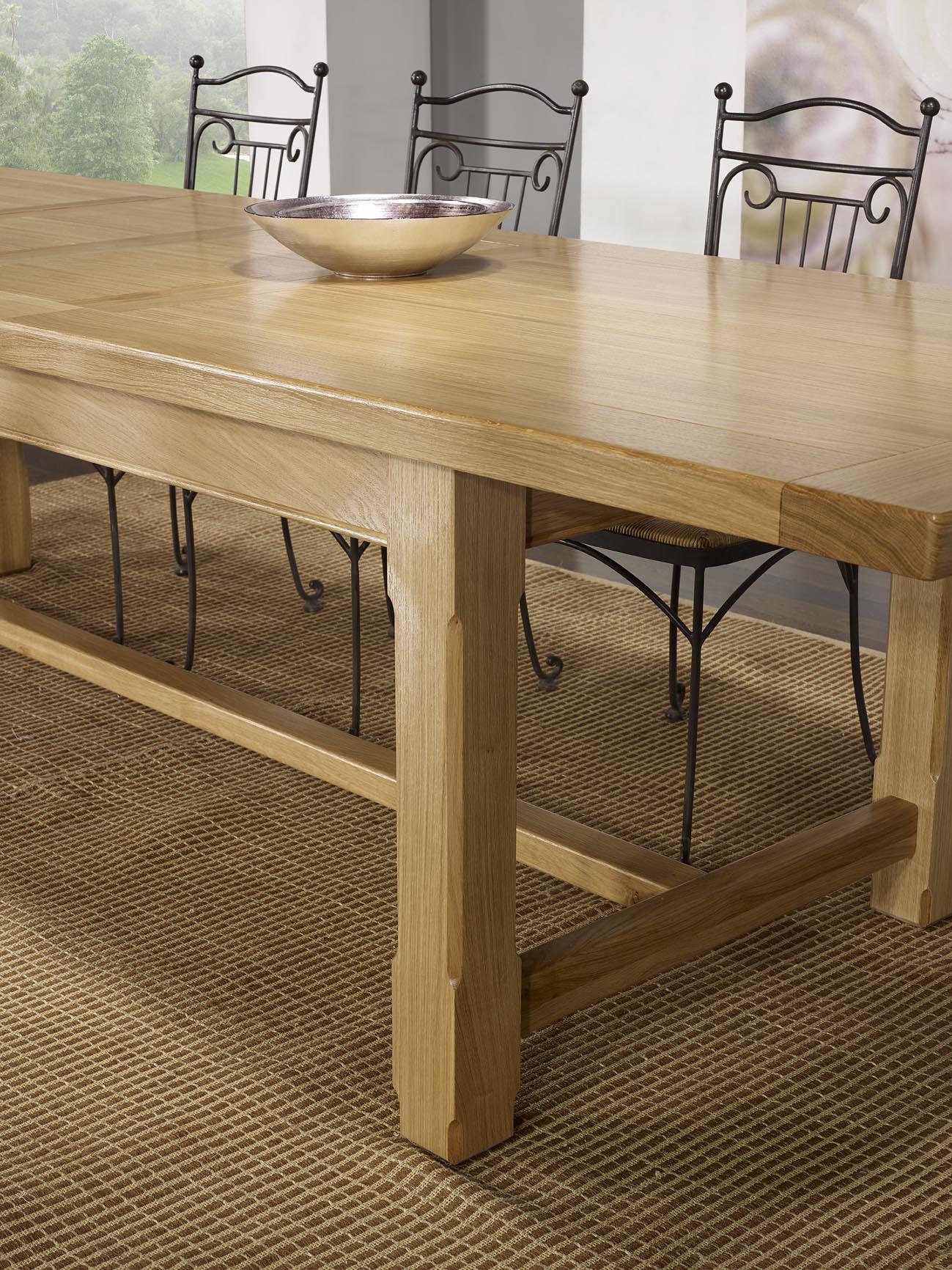 table de ferme axel en ch ne massif 250x100 2 allonges de 45 cm finition traditionnelle. Black Bedroom Furniture Sets. Home Design Ideas